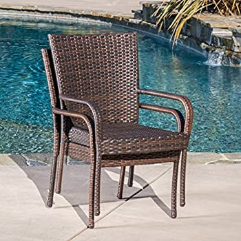 Set of 2 Stackable Outdoor Brown Wicker Dining Chairs