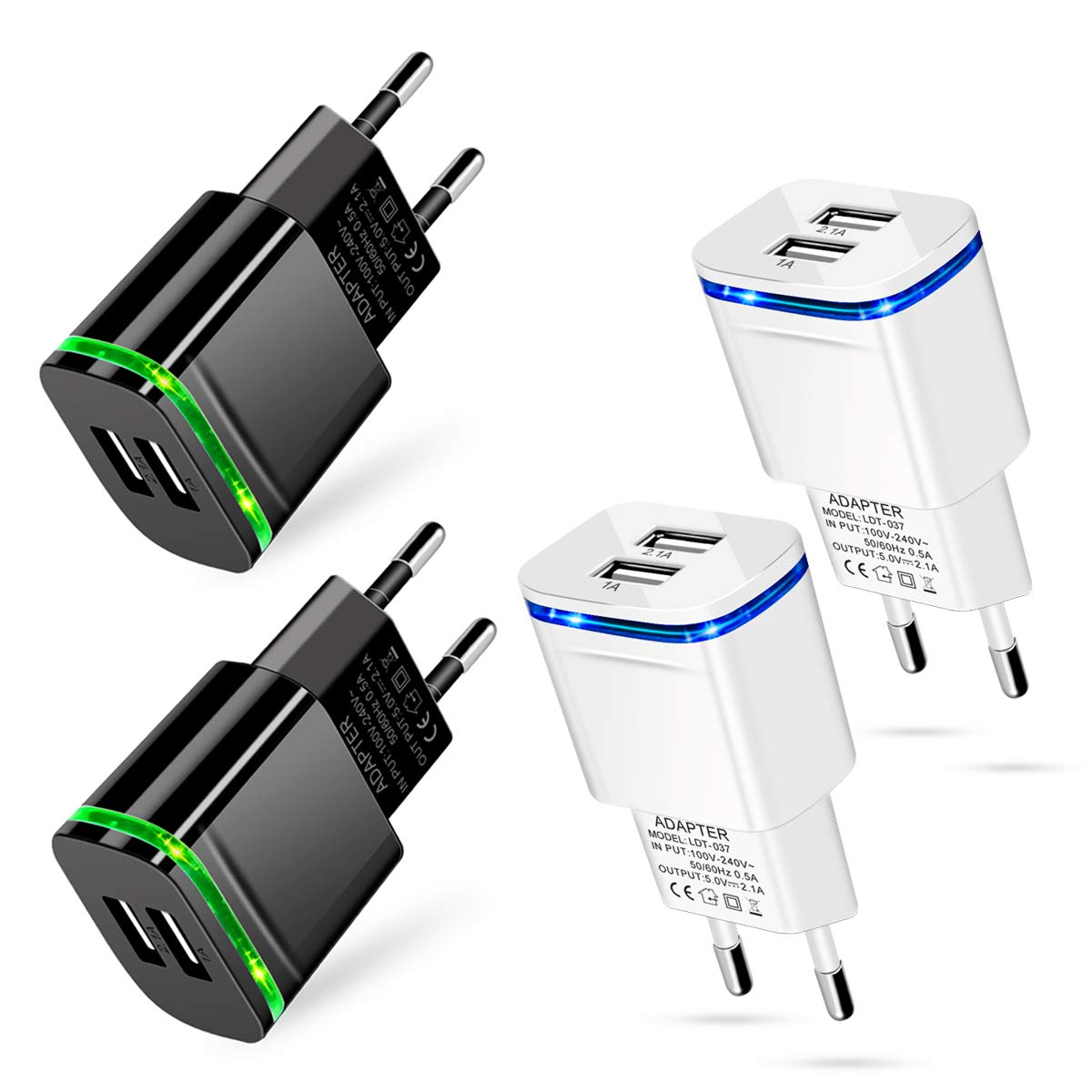 European Plug Adapter, 4-Pack 2.1A/5V Dual Europe USB Wall Charger Power Travel Adapter for iPhone X 8 7 6 6S Plus, Samsung, iPad, Moto, LG, HTC, More Cell Phone