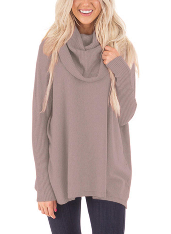 Sidefeel Women Cowl Neck Long Sleeve Pullover Sweater Medium Khaki