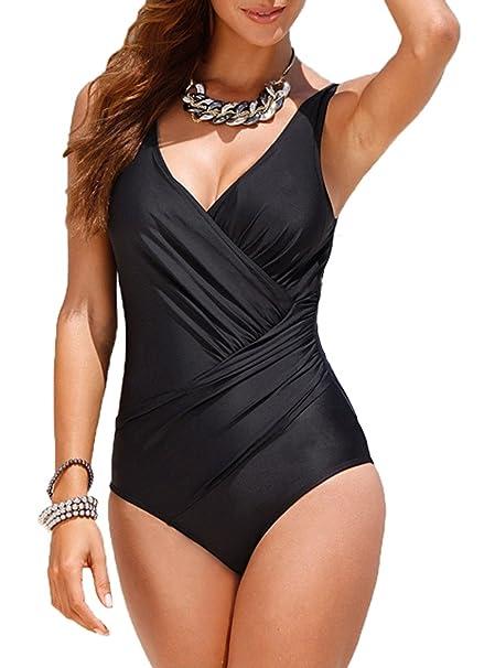 403ac1c13eb Upopby Women's Tummy Control Monokini One Piece Swimsuit Plus Size Black ...