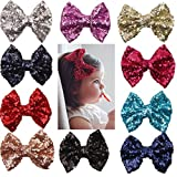 xsby Party Hair Bows Clips for Girls, 10pcs Children Sequins Bow Barrettes Cute Baby Girl Bow Hair Clips A