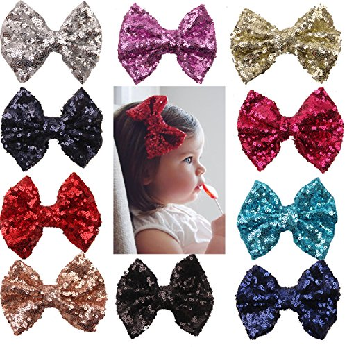 xsby Party Hair Bows Clips for Girls, 10pcs Children Sequins Bow Barrettes Cute Baby Girl Bow Hair Clips A by xsby