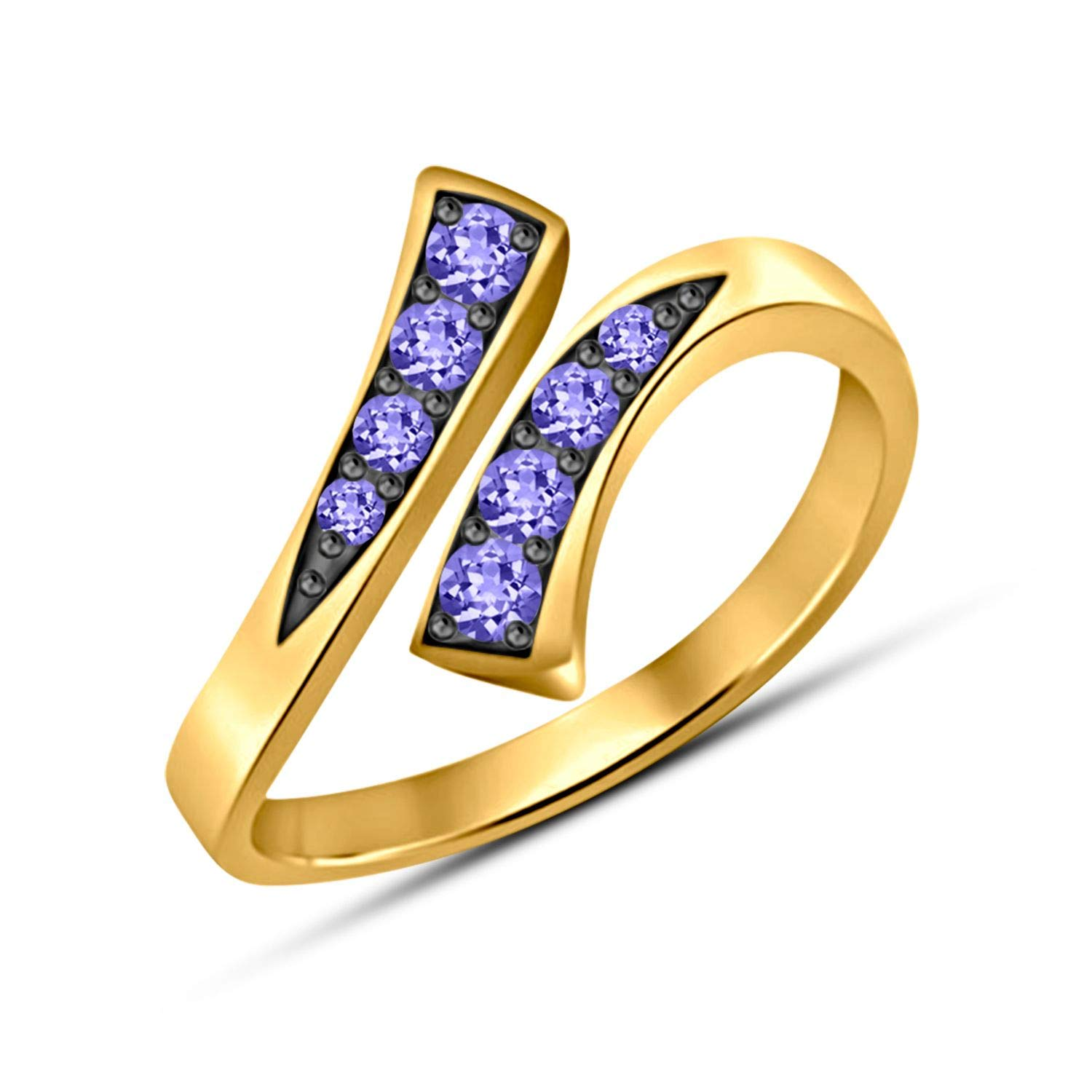Gemstar Jewellery Brilliant Tanzanite 14k Two Tone Gold Finishing Adjustable Bypass Ring in 925 Silver