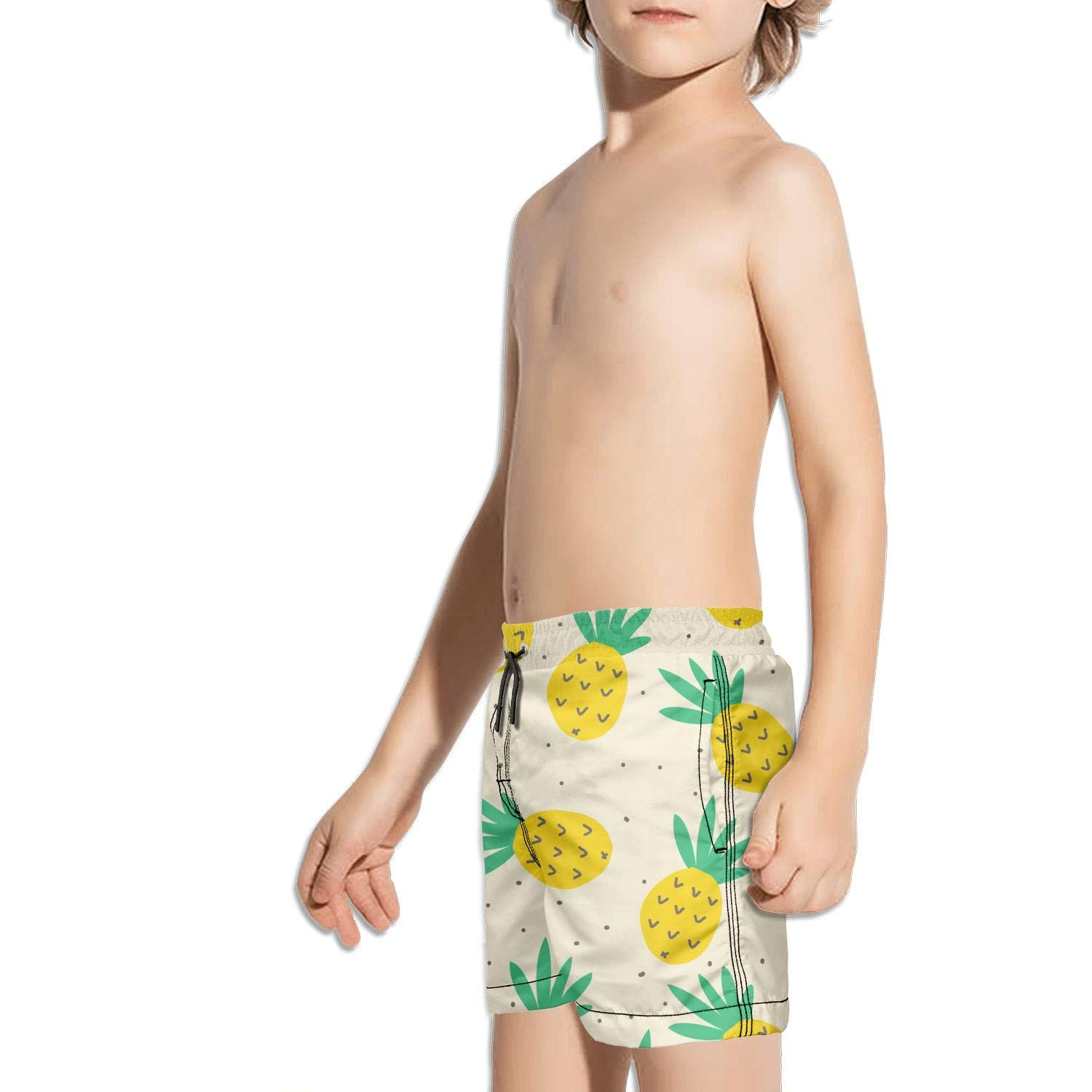 DSDRFE2DEW Swimming Trunks Colorful and Beautiful Pineapple Tree Sporty Shorts for boyswith Drawstring