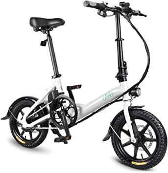 Lixada Asistente de Potencia Plegable de 14 Pulgadas Bicicleta eléctrica ciclomotor E-Bike 250W Motor sin escobillas 36V 5.2AH (Blanco, D3): Amazon.es: Deportes y aire libre