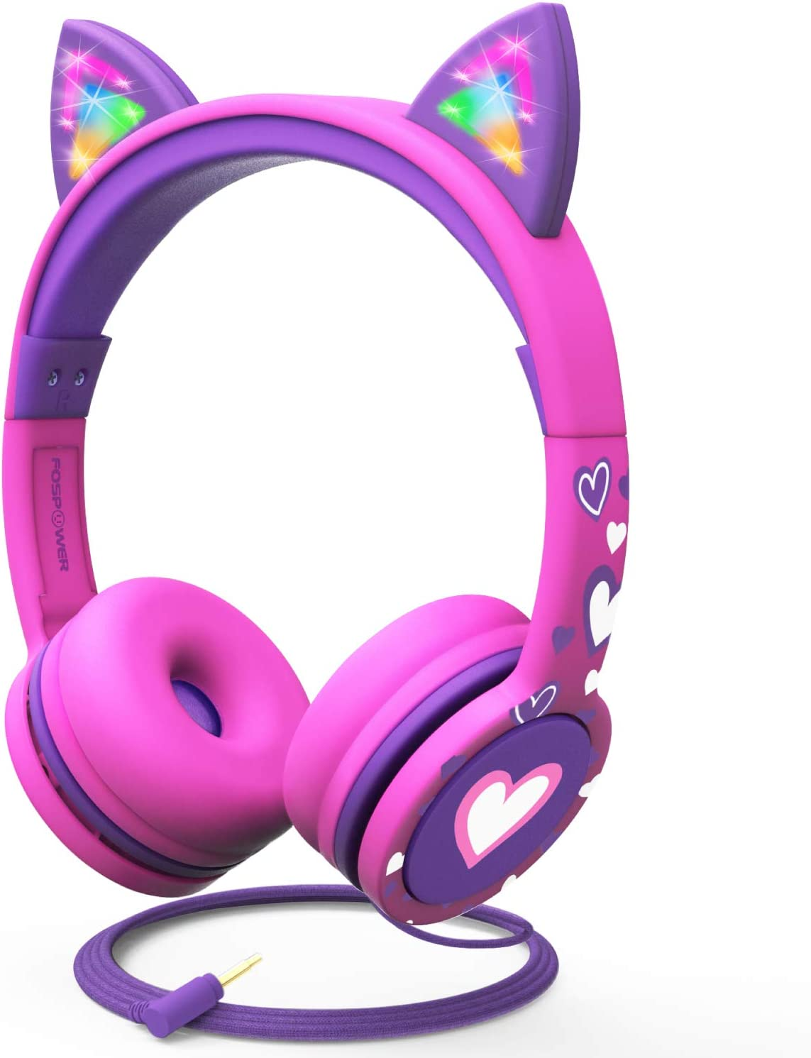 Over-Ear-Kopfh/örer mit Lautst/ärkeregler f/ür iPhone//iPad//Smartphones//Laptop//PC Katzenohren Pink und Grau LED kabellos Kinder-Bluetooth-Kopfh/örer