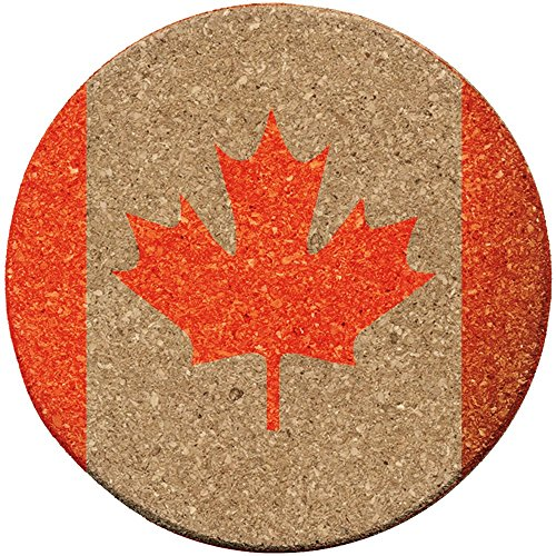 "GRAPHEEX CANADA-FLAG-COASTER Printed Absorbent Paper Board ROUND - Set of 10, 4"" x 4"" for home, Office or anywhere you want to protect the - Flag Coaster Canada"