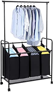 "JKRED Heavy-Duty Trolley Type 4-Bag Rolling Laundry Sorter with Detachable Hanging Bar Lockable Universal Wheel Clothing Storage Sorter Cart, Black, 42.5"" x 17.7"" x 66.9"""