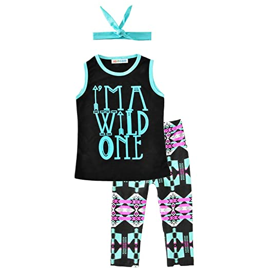 dde666a85c4b3 Amazon.com: Baby Pants Sets, Fineser 3Pcs Kids Baby Girls Sleeveless Letter  Print Tops Vest+Short Pant+Headband Outfits Clothes: Clothing