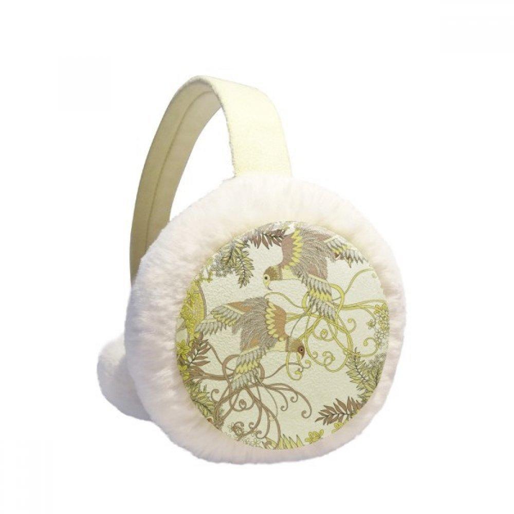 Leaves Flower Tree Bird Ukiyo-e Winter Earmuffs Ear Warmers Faux Fur Foldable Plush Outdoor Gift