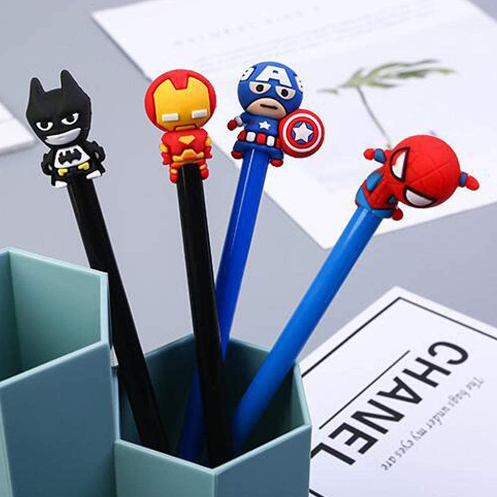 Sencoo Super Hero Black Gel Pens Spiderman Iron Man Captain America Batman Cute Kawaii Student Cartoon Pens 4 Pack