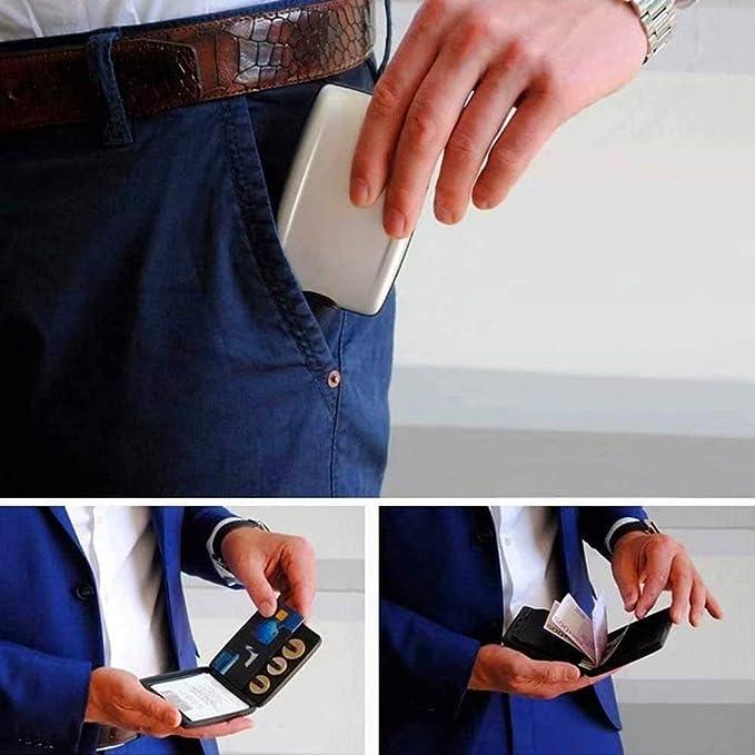 Portefeuille S/écuris/é de D/ép/ôts et Retraits RFID Argent Argent