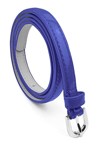Belle Donne Women's Belt Leather Skinny Solid Colors Narrow Belts