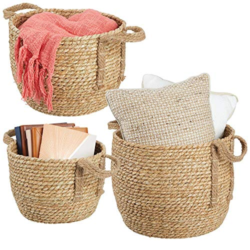 (mDesign Round Woven Braided Rope Seagrass Home Storage Baskets, Jute Handles - for Organizing Closet, Bedroom, Bathroom, Living Room, Entryway, Office - Bins in Different Sizes - Set of 3 - Natural)
