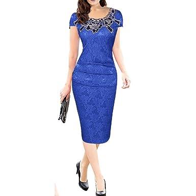 Damen Spitzen Cocktailkleid IHRKleid® Elegant Langarm Abendkleid  Brautjungfer Ballkleid Rundhals Stretch Kleider Weinrot Schwarz EU 844a0f5219