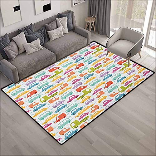 Large Area Rug,Cars Lovely Drive on a Sunny Fun Summer Day Theme with Colorful Buses Trucks Exhaust Fumes,Anti-Static, Water-Repellent Rugs,4'11