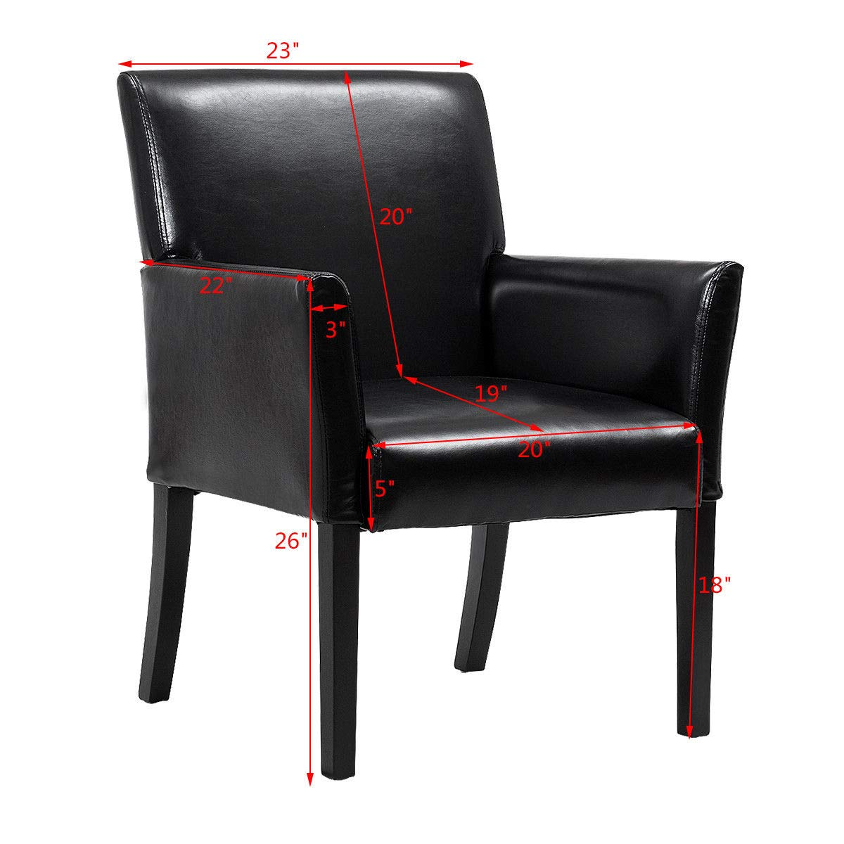 1 PC Black Giantex Leather Reception Guest Chairs Set Office Executive Side Chair Padded Seat Ergonomic Mid-Back Meeting Waiting Room Conference Office Guest Chairs w//Arms