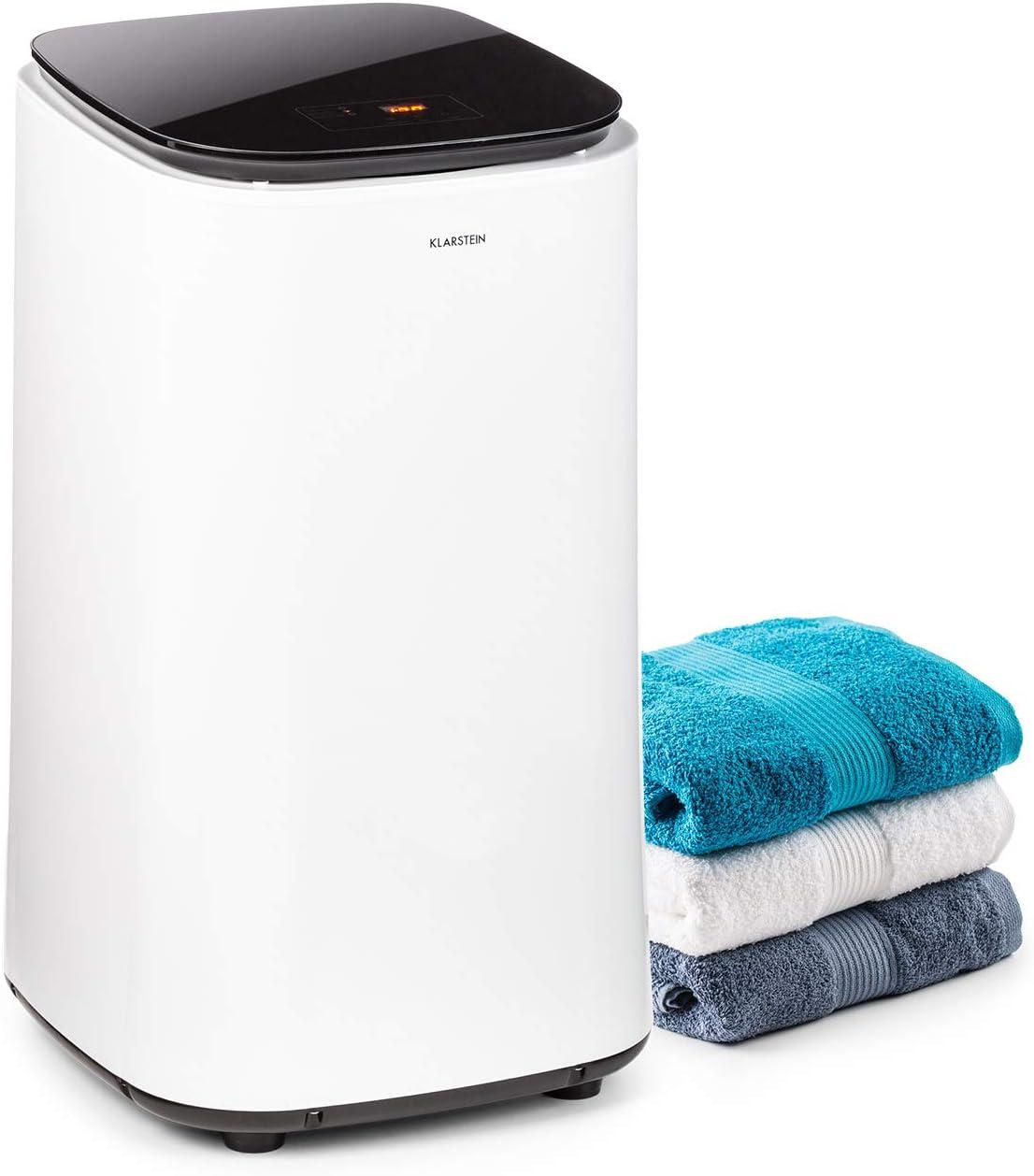 KLARSTEIN Zap Dry Secadora, 820 W, Capacidad: 50 L, diseño UniqueDry, más compacta, Tambor de Acero Inoxidable, Carcasa de plástico, Controles táctiles, Tapa de Cristal de Seguridad, Blanca/Negra