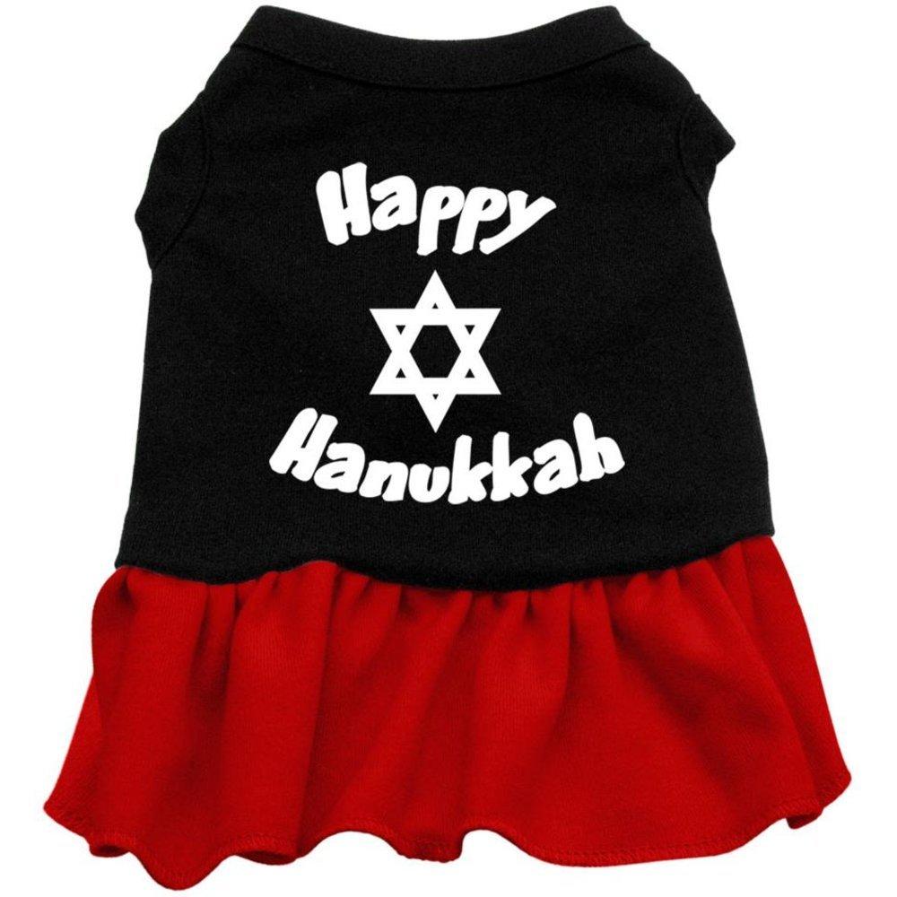 Black with Red Medium Black with Red Medium Mirage Pet Products 12-Inch Happy Hanukkah Screen Print Dress, Medium, Black with Red