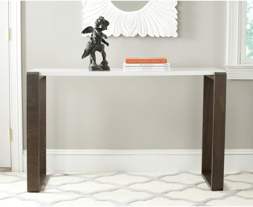 Safavieh Home Collection Bartholomew Mid Century Modern White And Dark Brown Console Table Furniture Decor