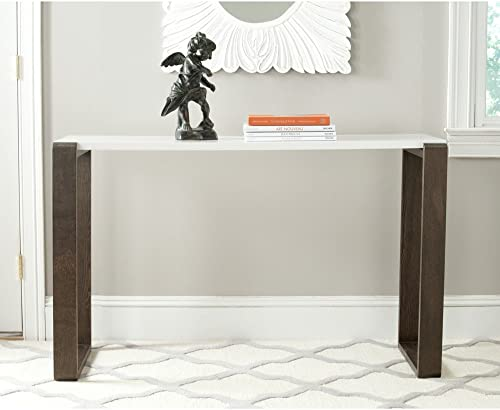 Safavieh Home Collection Bartholomew Mid-Century Modern White and Dark Brown Console Table