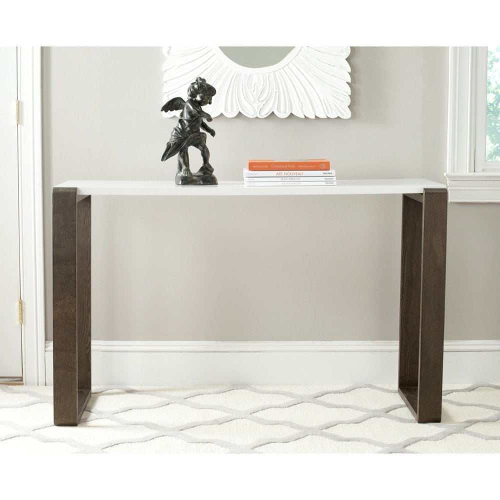 Safavieh Home Collection Bartholomew Mid-Century Modern White and Dark Brown Console Table by Safavieh