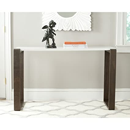 Safavieh Home Collection Bartholomew Mid Century Modern White And Dark  Brown Console Table