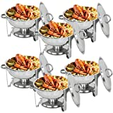 ZenChef Deluxe 5 Qt Stainless Steel Round Chafer, Full Size Chafer, Chafing Dish w/Water Pan, Food Pan, Lid, Frame And Alcohol Furnace (Pack of 6)