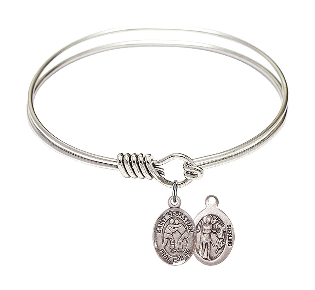 6 1/4 inch Round Eye Hook Bangle Bracelet with a St. Sebastian/Wrestling charm. by F A Dumont