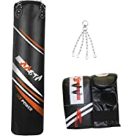 4 FT Filled Punch Bag, Kick Boxing, With hanging Chain Bag Mitts