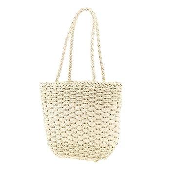OneMoreT - Bolso de playa para mujer, diseño de paja de verano, beige: Amazon.es: Instrumentos musicales