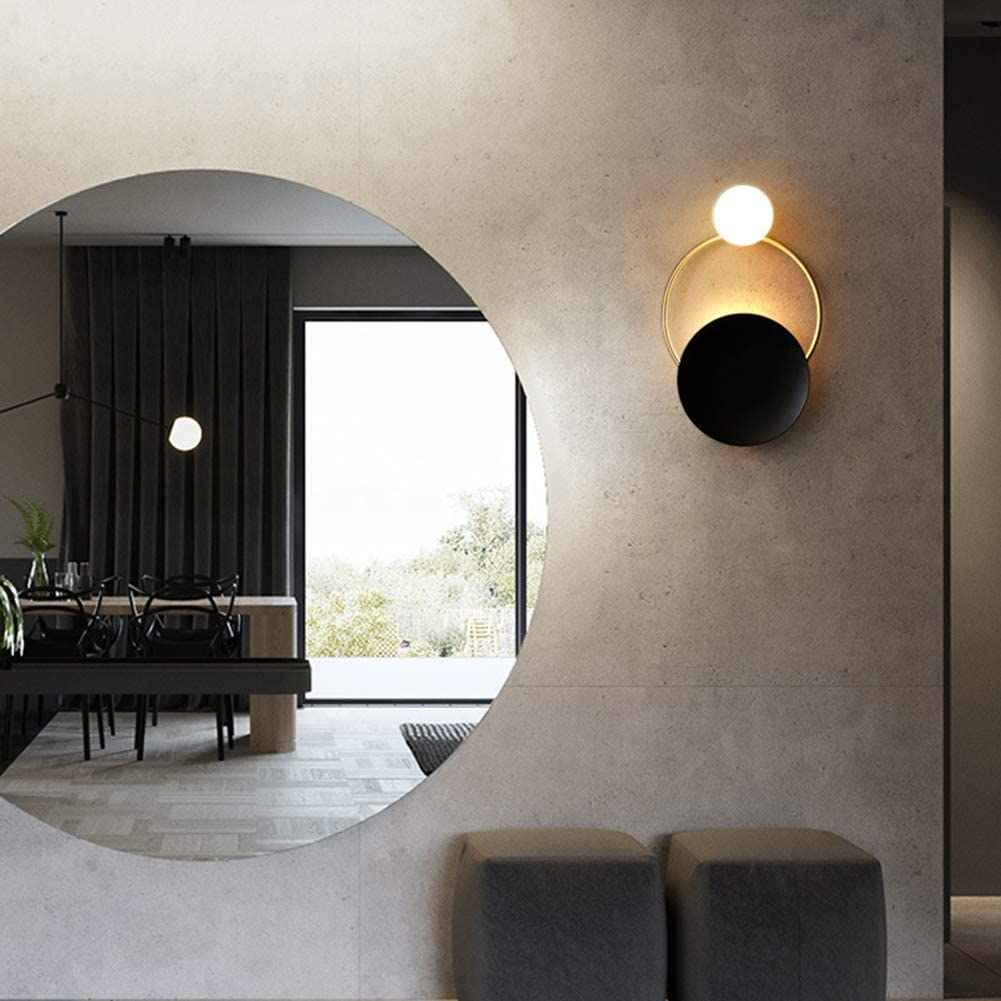 Aplique de pared con anillo, Bombilla LED redonda doble, estilo minimalista moderno, material hierro forjado vidrio, para el estudio de la cabecera de la cama del dormitorio Iluminación del corredor