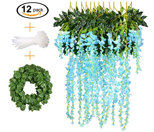 12 PCS, 3.6 feet, Artificial Wisteria Vine Ratta Hanging Garland Silk Flower String Set || Come with a 7 feet Leaf Vine String and 18 pcs Zip Ties || By KooCoo Mummy ( Blue) (Stem Cherry Hedge)