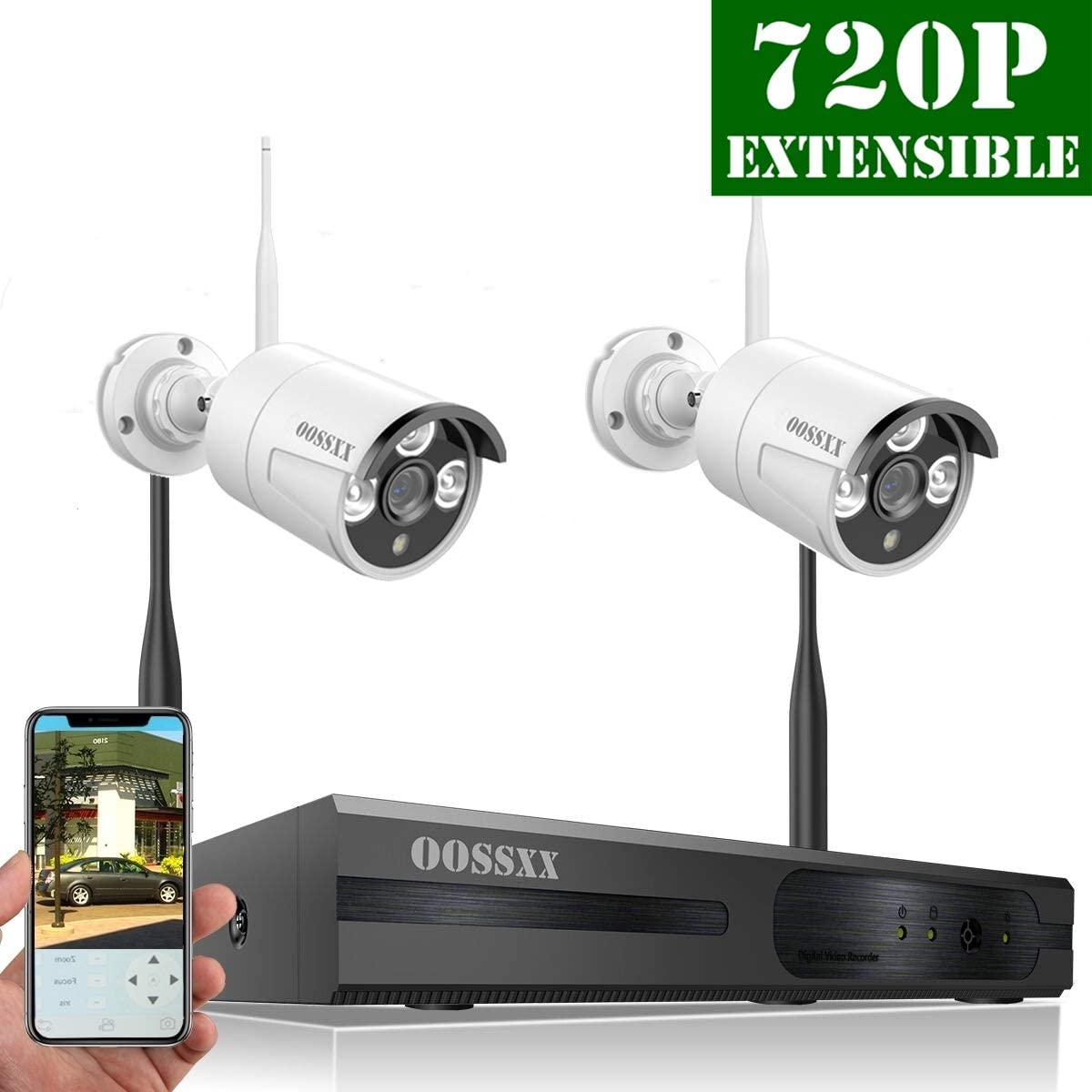 2018 Update HD 960P 4-Channel OOSSXX Wireless System IP Security Camera System 2Pcs 720P 1.0 Megapixel Wireless Indoor Outdoor IR Bullet IP Cameras,P2P,App
