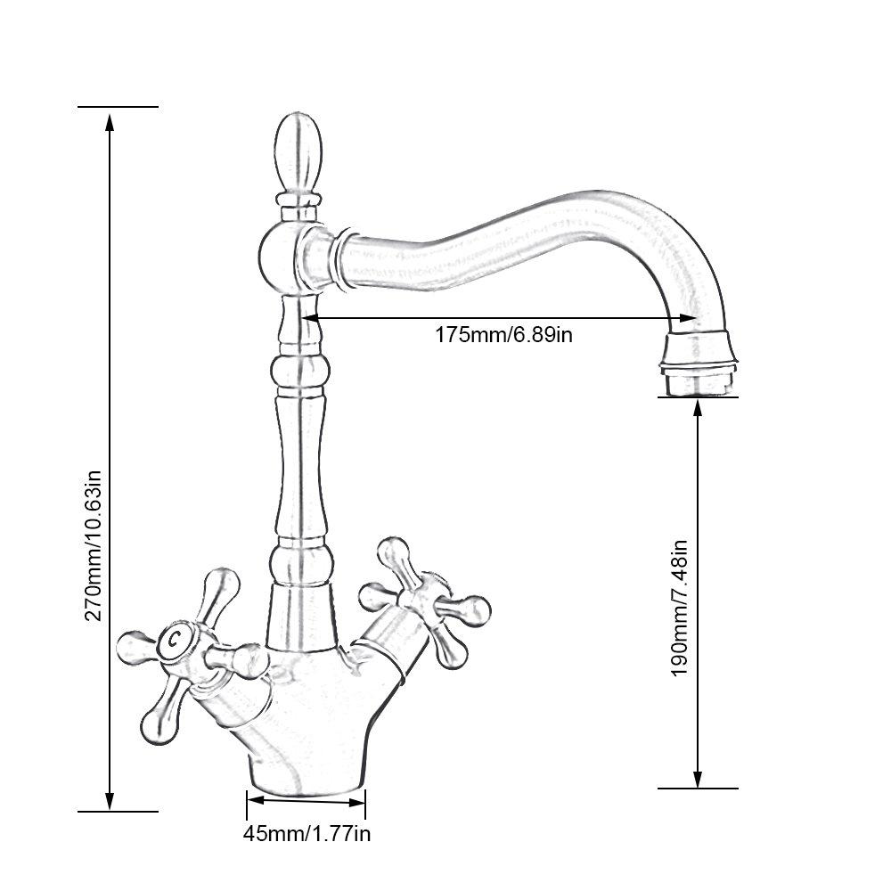 grifo mezclador para Lavabo de cocina y ba/ño giratoria 360//° de Lat/ón con La Forma envejecido Vintage con Doble mando