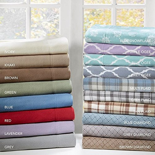 JLA Home True North by Sleep Philosophy Microfleece Sheet Set Grey Plaid Queen