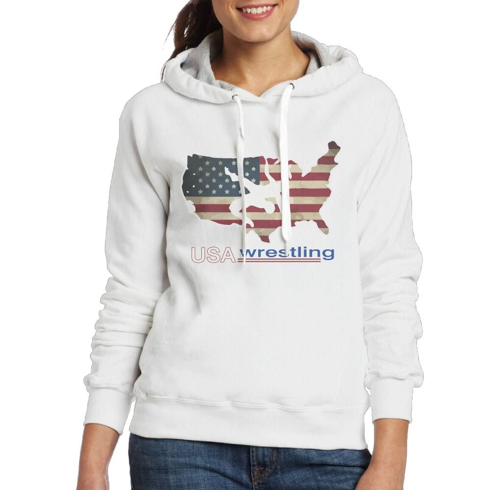 CL&WZ Women's USA Wrestling Pullover Hoodie by CL&WZ