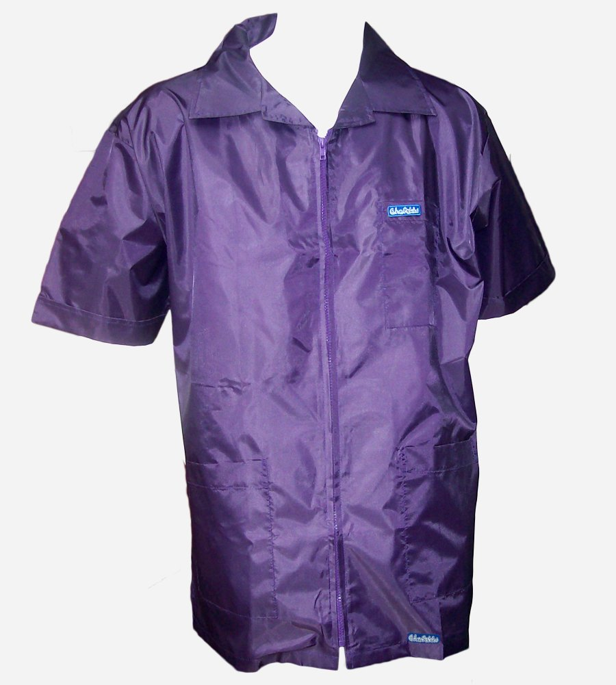 BARBERSHOP-BOYS 60'S 3 POCKET BARBER JACKET ULTRALIGHT NYLON POLY FABRIC HAIR REPELLENT ALL SIZES (GRAPE)