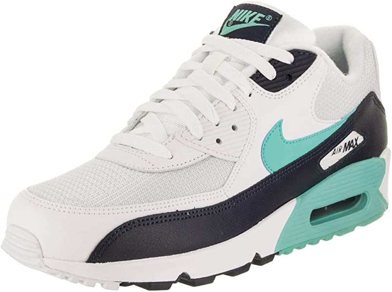269d0cb854 Nike Mens Air Max 90 Essential Running Shoes White/Aurora Green/Obsidian  AJ1285-