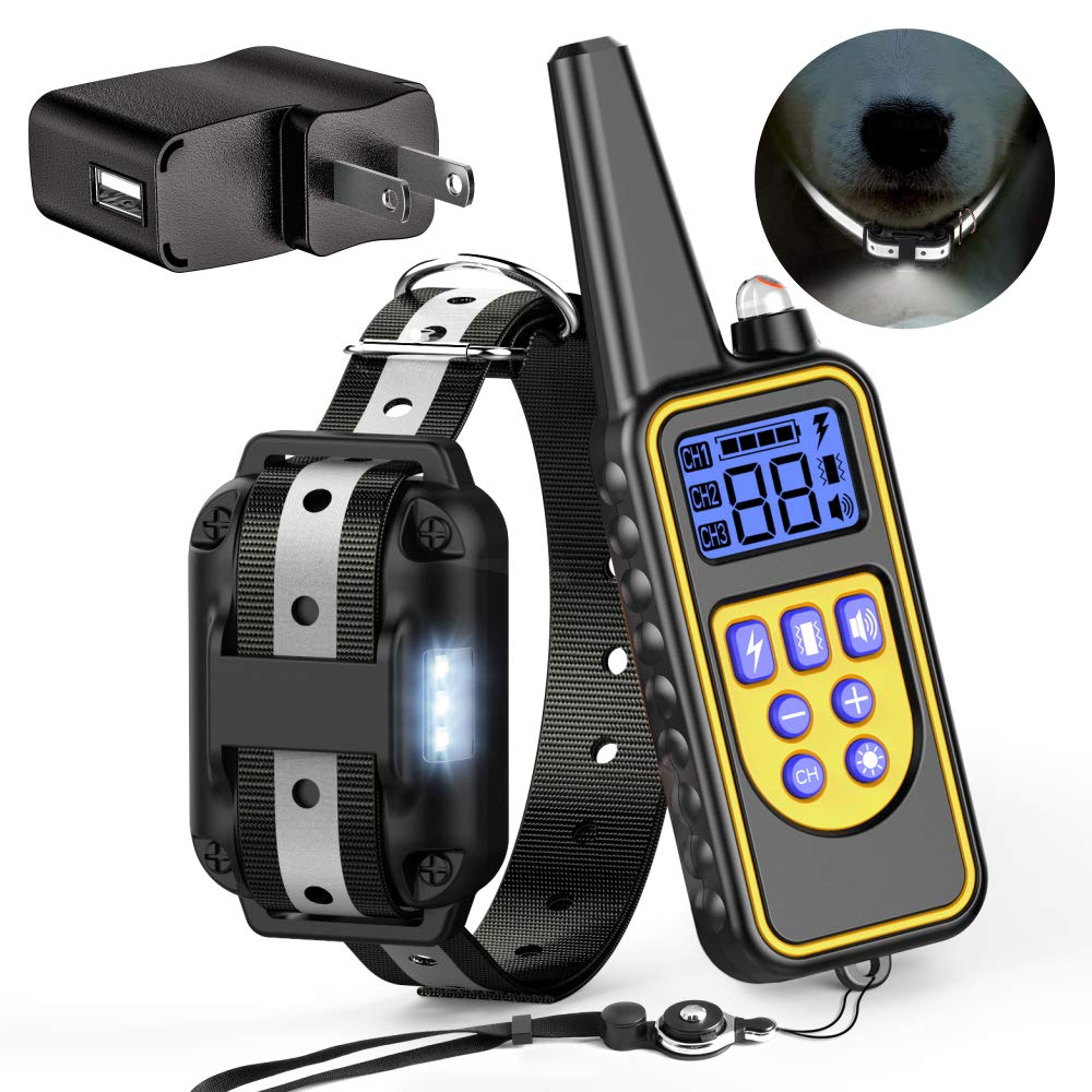Black Reflective Strap For 1 Dog Black Reflective Strap For 1 Dog Cambond Dog Training Collar with Reflective Strap and LED Light, 2600ft Remote Waterproof Dog Shock Collar with Remote for Medium and Large Dogs,4 Training Modes Light Beep Vibration Shock