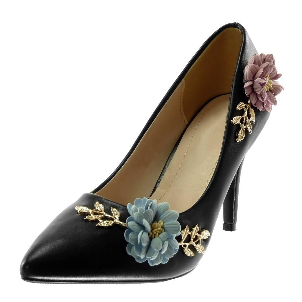 TALLA 36 EU. Angkorly - Zapatillas Moda Tacón escarpín Stiletto Decollete Slip-on Mujer Flores Dorado fantasía Tacón de Aguja Alto 9 CM