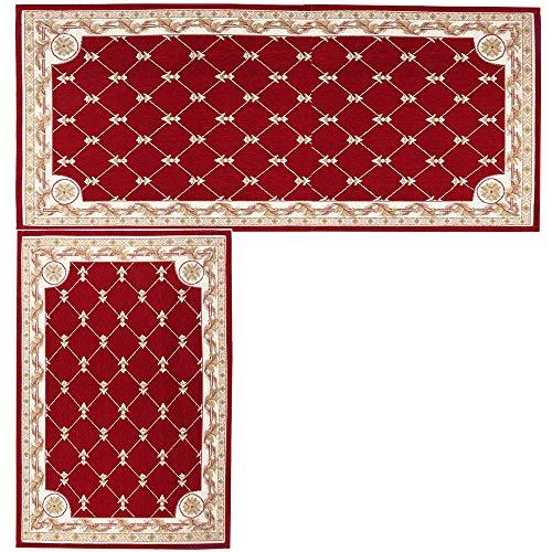 (Kitchen Mat,Hihome Decorative Non-slip Polyacrylonitrile Red Kithchen Rugs Set Bathroom Mats Set Floor Mats Set Shower Rugs for Living Room (17.7