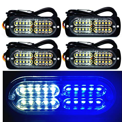 12-24V 20-LED Super Bright Emergency Warning Caution Hazard Construction Waterproof Amber Strobe Light Bar with 16 Different Flashing for Car Truck SUV Van - 4PCS (White - Blue Strobe