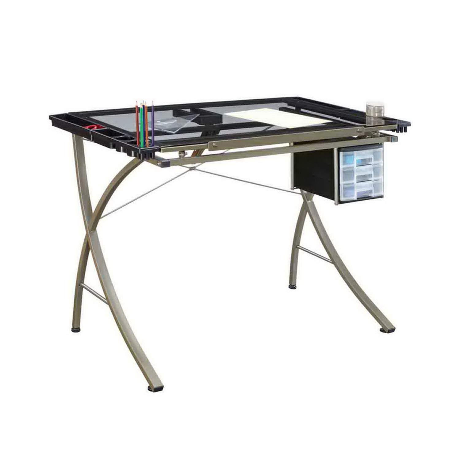 Office Drafting Table Art Drawing Adjustable Craft Work Station with 3 Slide Drawer for Storage, 35'' x 24'' Tempered Glass Top