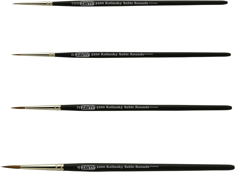 2 ZEM Golden Synthetic Small Detail Round Brushes Set Sizes 10//0 3//0