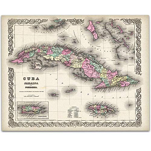 1855 Map of Cuba - 11x14 Unframed Art Print - Great Vintage Home Decor Under $15