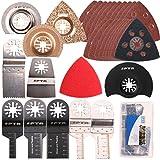 SPTA Oscillating Multi tool With Plastic Box For Fein Multimaster,Dremel,Bosch,Makita,Dewalt and More-Pack of 37 Pcs