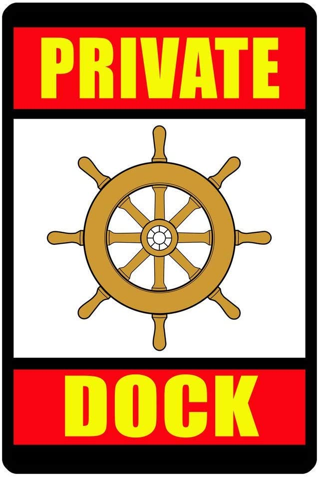 Vintage Aluminum Private Dock Sign Durable Metal Signs Never Rust Quality Dock Wheel Sign For Garage Man Cave Home Decor 8