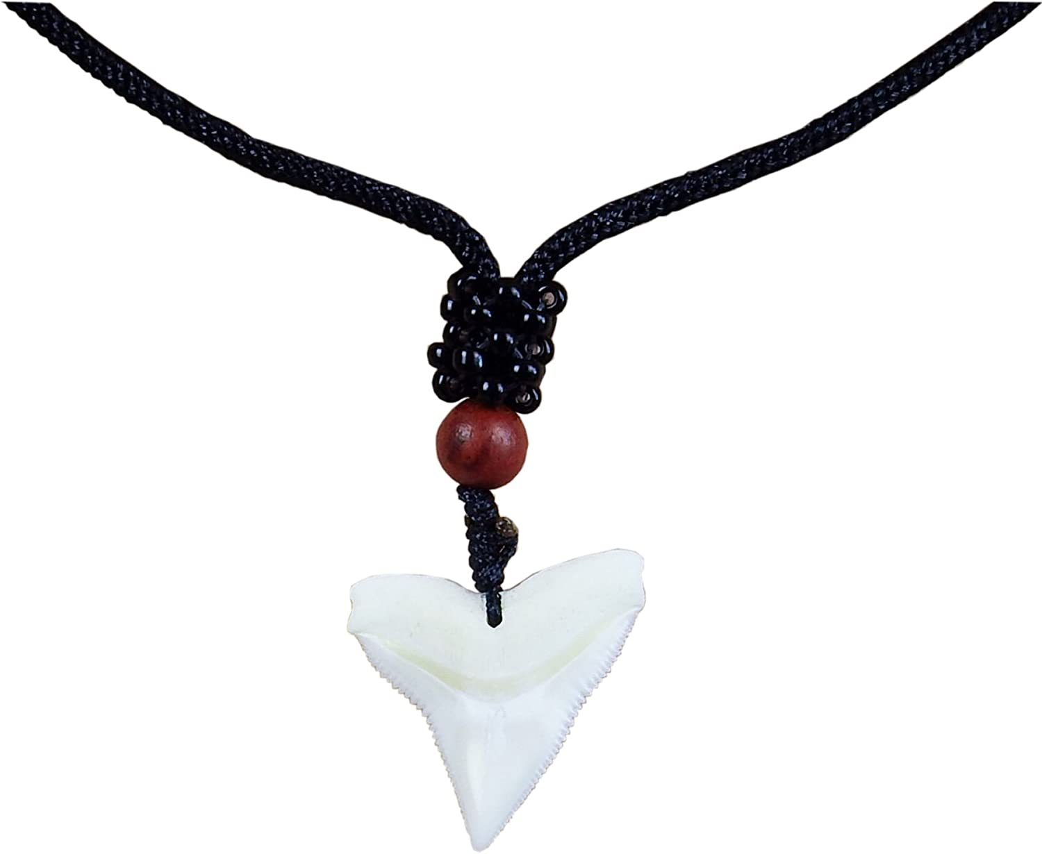 Real Shark Tooth Teeth Pendant Charm Choker Necklace with Black Cord