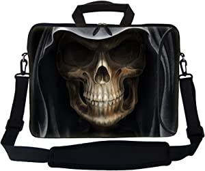 """Meffort Inc 17 17.3 inch Neoprene Laptop Bag Sleeve with Extra Side Pocket, Soft Carrying Handle & Removable Shoulder Strap for 16"""" to 17.3"""" Size Notebook Computer - Skull Face"""